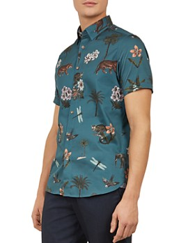 6f561ebb5300ae Ted Baker - Group Animal Print Slim Fit Shirt ...