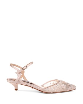 Badgley Mischka - Women's Iris Embellished Mesh Kitten Heel Pumps