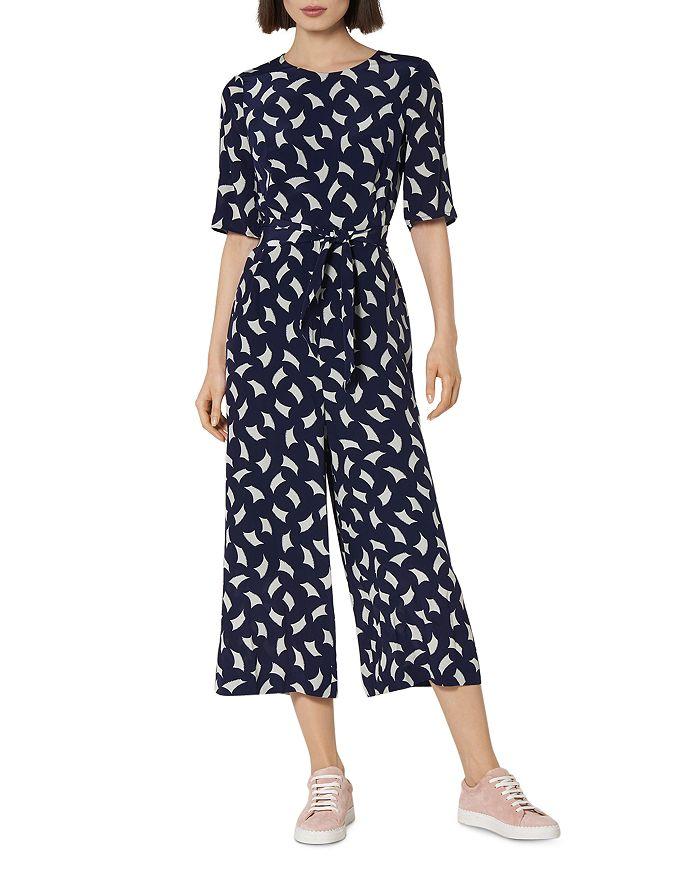 L.K.Bennett - Aline Cropped Printed Silk Jumpsuit