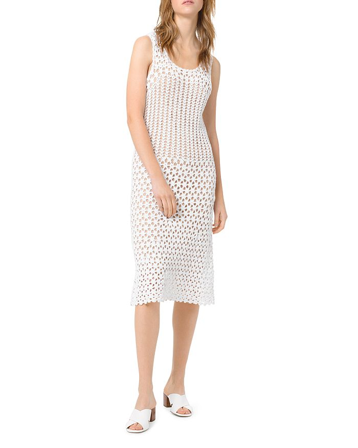 MICHAEL Michael Kors - Crocheted Sheer-Effect Midi Sheath Dress