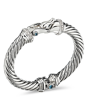 David Yurman Accessories STERLING SILVER CABLE BUCKLE BRACELET WITH HAMPTON BLUE TOPAZ & DIAMONDS
