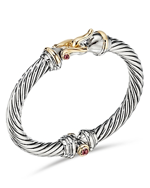 David Yurman Accessories STERLING SILVER & 18K YELLOW GOLD CABLE BUCKLE BRACELET WITH RHODALITE GARNET