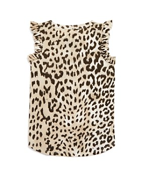 CHASER - Girls' Ruffle Sleeve Leopard Print Tank - Big Kid