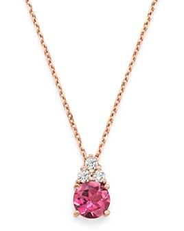 """Bloomingdale's - Pink Tourmaline & Diamond Pendant Necklace in 14K Rose Gold, 16"""" - 100% Exclusive"""