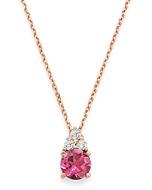 Bloomingdale's Pink Tourmaline & Diamond Pendant Necklace in 14K Rose Gold, 16 - 100% Exclusive