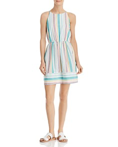 AQUA - Striped High-Neck Fit-and-Flare Dress - 100% Exclusive