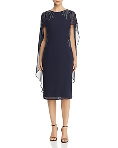 Adrianna Papell - Embellished Cape-Overlay Dress