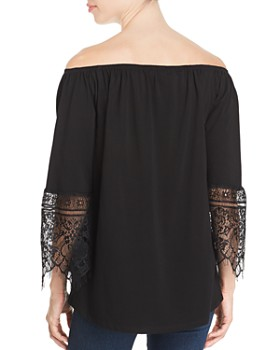 Sioni - Lace-Cuff Off-the-Shoulder Top