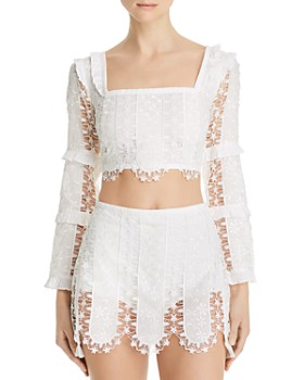 For Love & Lemons - Morrison Lace Cropped Top