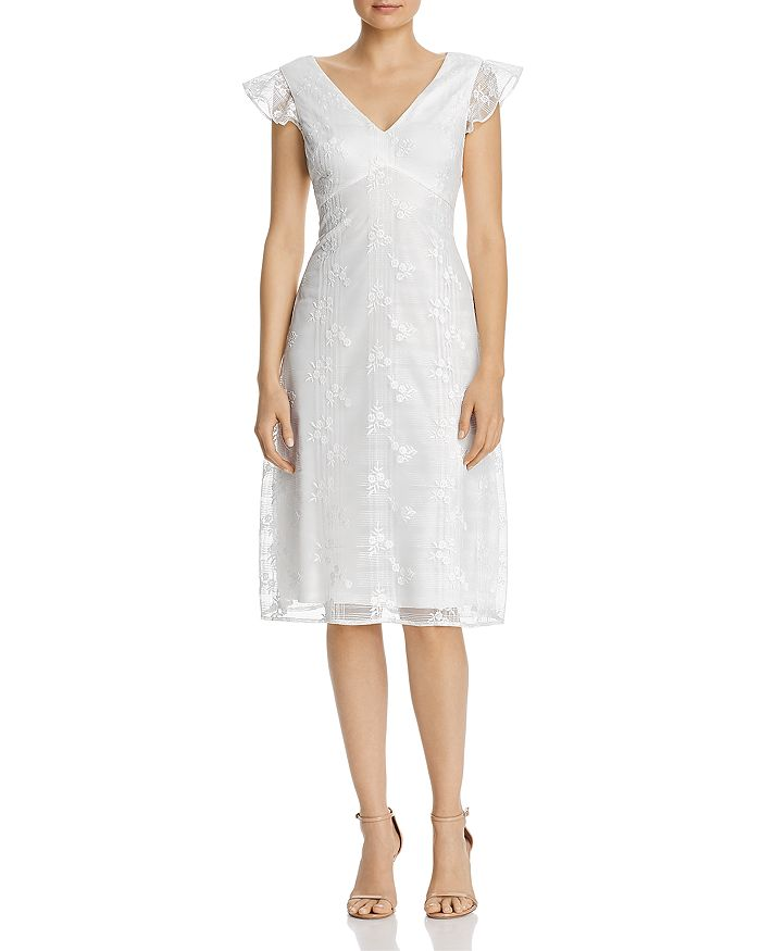 Adrianna Papell - Embroidered Flutter-Sleeve Dress