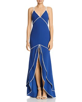 Nha Khanh - Lace-Trim Crepe Gown