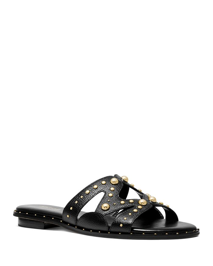 Michael Michael Kors Women's Annalee Studded Slide Sandals In Black