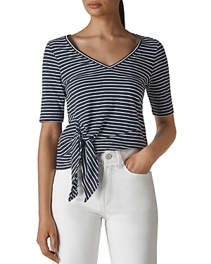 Whistles Striped Tie-Front Tee