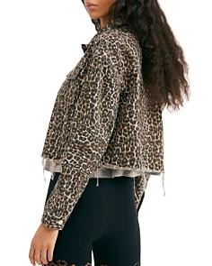 Free People - Leopard Print Cropped Denim Jacket