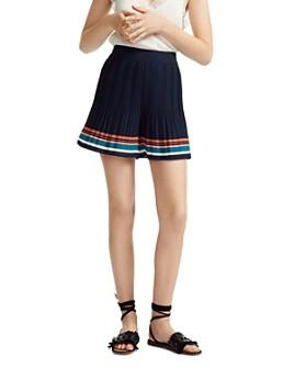 Maje - Ikingi Pleated Striped Mini Shorts