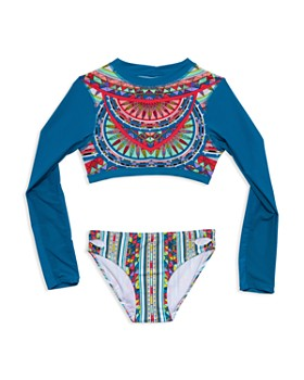 985bf962c Gossip Girl - Girls' Rash Guard Two-Piece Swimsuit - Big Kid ...