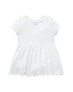 Ralph Lauren - Girls' Eyelet-Hem Cotton Tee - Little Kid
