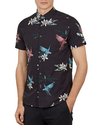 Ted Baker - Sense Parrot Print Slim Fit Shirt