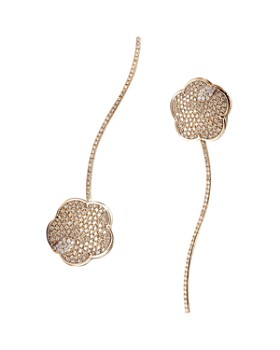 Pasquale Bruni - 18K Rose Gold Joli White & Champagne Diamond Flower Drop Earrings