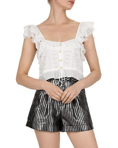 The Kooples - Embroidered Ruffle Top