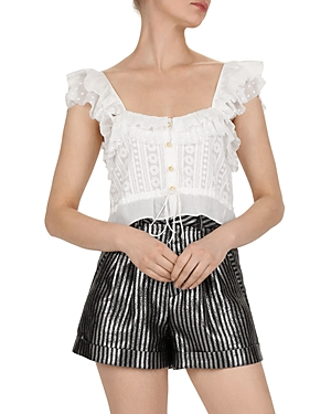 The Kooples Embroidered Ruffle Top