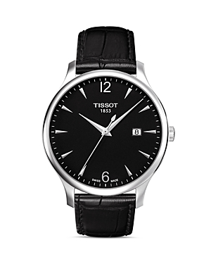 Tissot Tradition Black Leather Strap Watch, 42mm-Jewelry & Accessories