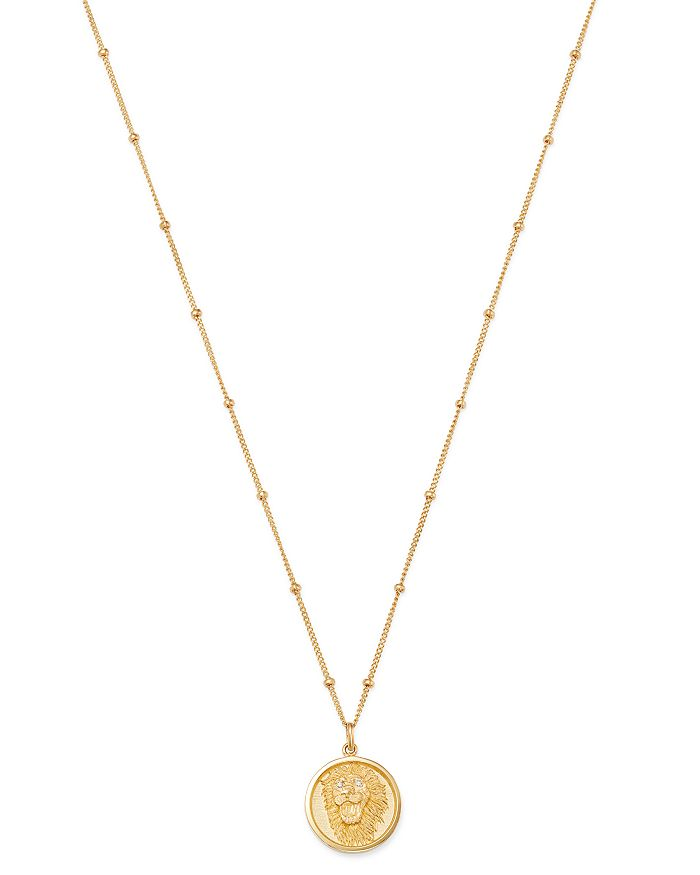 14K Yellow Gold Diamond Lion Medallion Necklace, 18