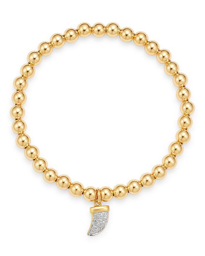 Zoe Lev - 14K Yellow Gold Diamond Horn Charm Beaded Bracelet