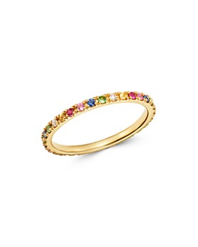 Zoe Lev - 14K Yellow Gold Rainbow Gemstone & Diamond Eternity Ring