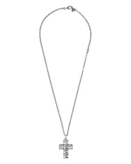 """Gucci - Sterling Silver G Cube Cross Pendant Necklace, 23.5"""""""