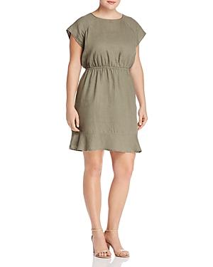 Vince Camuto Plus Linen Flounce-Hem Dress