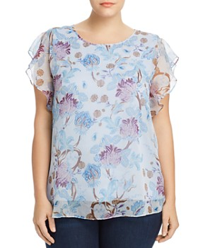 VINCE CAMUTO Plus - Poetic Blooms Flutter-Sleeve Top