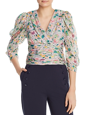 Amur Tops AURIEL RUCHED FLORAL-SILK TOP