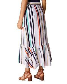 KAREN MILLEN - Ruffled Striped Wrap Skirt