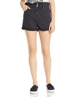 Sunset & Spring - Paperbag-Waist Denim Shorts