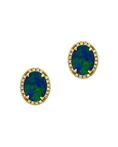Bloomingdale's - Blue Opal & Diamond Earrings in 14K Yellow Gold - 100% Exclusive