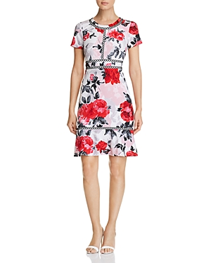 Karl Lagerfeld Dresses FLORAL-PRINT FLOUNCE-HEM DRESS