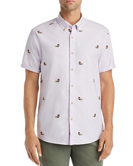 Scotch & Soda - Short-Sleeve Embroidered Regular Fit Button-Down Shirt