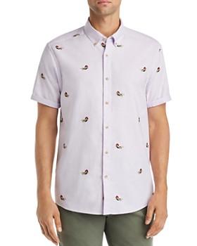 Scotch & Soda - Short-Sleeve Embroidered Regular Fit Button-Down Shirt