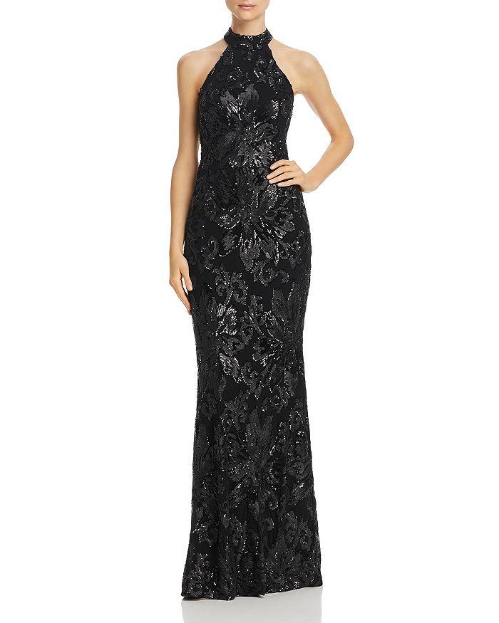 AQUA - Mock-Neck Sequined Gown - 100% Exclusive