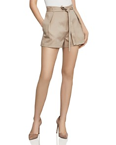 BCBGMAXAZRIA - Pleated Paperbag-Waist Shorts