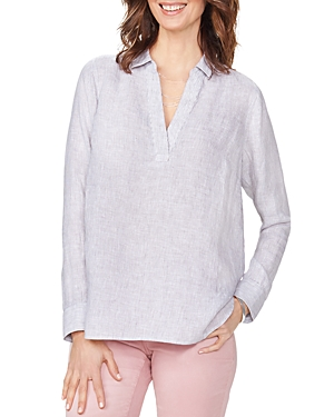 Nydj Tops STRIPED LINEN POPOVER TOP