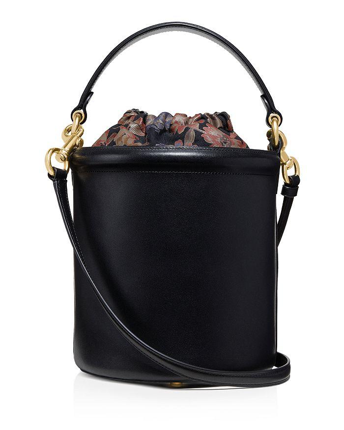 Medium Drawstring Leather Bucket Bag