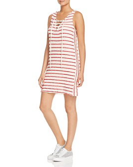 Red Haute - Striped Lace-Up Shift Dress