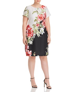 b0d7c7db7d Adrianna Papell Plus - Color-Blocked Floral A-Line Dress ...