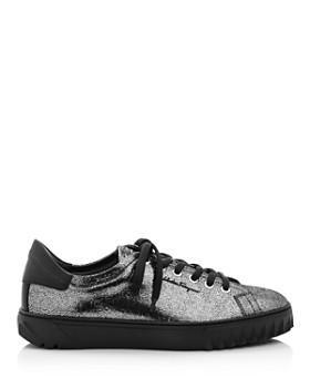 Salvatore Ferragamo - Women's Cube Metallic Leather Lace-Up Sneakers