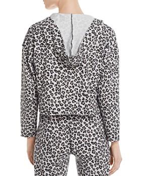 Vintage Havana - Boxy Cropped Leopard-Print Hooded Sweatshirt