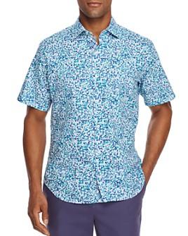 TailorByrd - Sani Short-Sleeves Pebble-Print Classic Fit Shirt