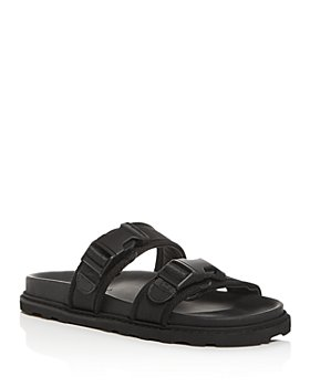 Bottega Veneta - Men's Leather & Canvas Strap Slide Sandals