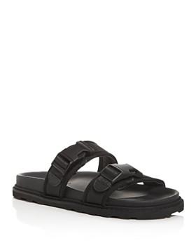 Bottega Veneta - Men's Leather & Canvas Strap Slide Sandals